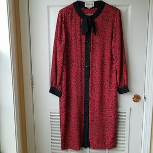 Vintage 1980s Pussy Bow Dress
